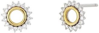 Bony Levy Two-Tone 18K Yellow Gold Diamond Halo Open Circle Stud Earrings
