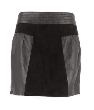 Bel Air Black Leather Skirt for Women