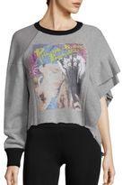 Maison Margiela Asymmetric Ruffle-Sleeve Graphic Sweatshirt