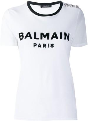 Balmain buttoned logo T-shirt