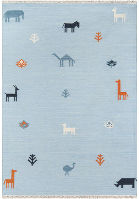 Momeni Erin Gates by Thompson Porter Blue Hand Woven Wool Area Rug 5'x