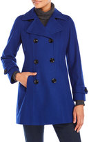 Anne Klein Royal Blue Double-Breasted Wool Peacoat