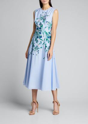 Lela Rose Embroidered Floral Full-Skirt Dress