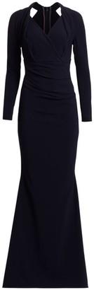 Talbot Runhof Long-Sleeve Crepe Gown