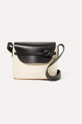 Off-White Cesta Collective - Lady Leather-trimmed Woven Sisal Shoulder Bag