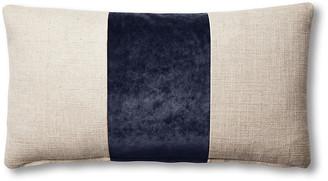 One Kings Lane Blakely 12x23 Lumbar Pillow - Natural/Navy