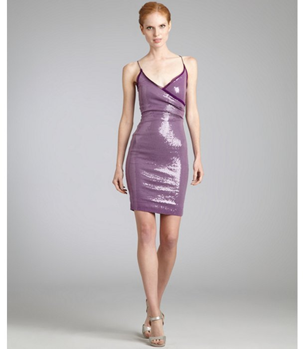 Nicole Miller berry sequin spaghetti strap and racer back party dress