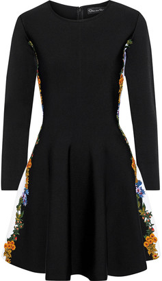 Oscar de la Renta Flared Embroidered Stretch-knit Mini Dress