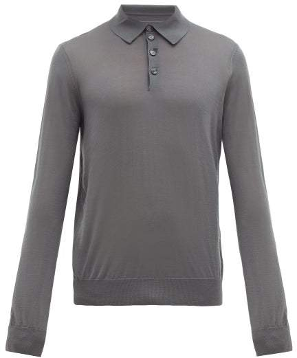 84ca5feac4 Long Sleeve Knitted Wool Polo Shirt - Mens - Grey