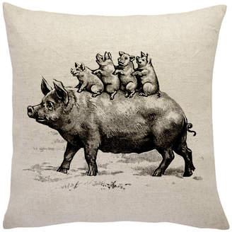 The Watson Shop Pig Family Linen Throw Pillow