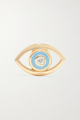 Alison Lou Evil Eye 14-karat Gold, Diamond And Enamel Earring