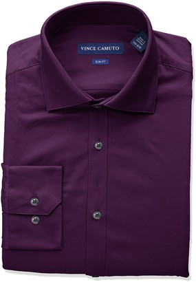 Vince Camuto Men's Slim Fit Spread Collar Solid Dress Shirt
