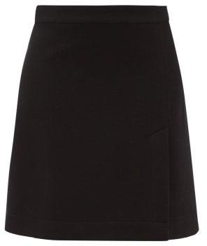 Raey A-line Split-hem Wool-blend Mini Skirt - Navy