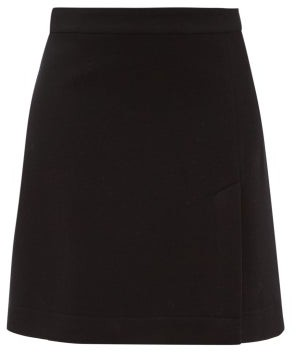 Raey A-line Split-hem Wool-blend Mini Skirt - Womens - Navy