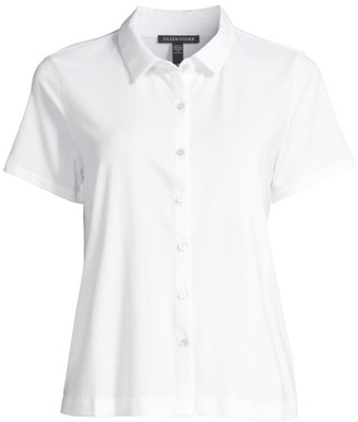 Eileen Fisher Classic Collar Short-Sleeve Shirt