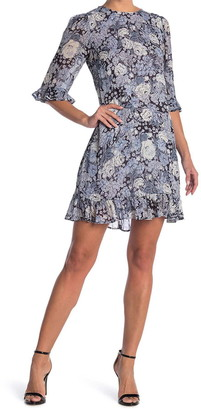 Ganni Georgette Quarter Ruffle Sleeves Printed Dress