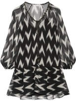 Rachel Zoe Carolina Printed Silk-georgette Mini Dress - Black