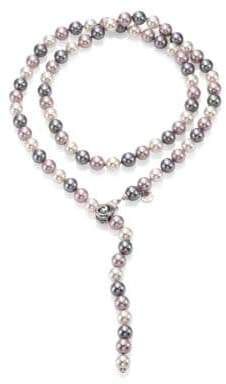 Majorica 10MM Multicolor Round Pearl& Sterling Silver Strand Necklace/35""