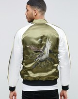 Asos Bomber Jacket with Eagle Embroidery in Khaki