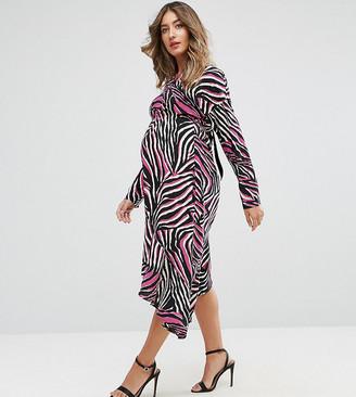 Asos Bright Animal Midi Dress-Multi