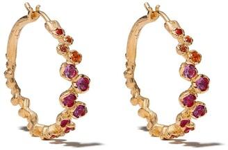 Annoushka 18kt yellow gold Hidden Reef sapphire hoop earrings
