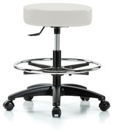 Height Adjustable Swivel Stool with Foot Ring Perch Chairs & Stools Color: Adobe White Vinyl