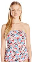 Tommy Hilfiger Women's Libby Floral Side Cinched Bandeau Tankini Top