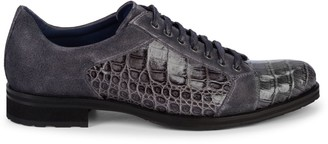 Mezlan Olsen Suede & Crocodile Leather Derby Shoes