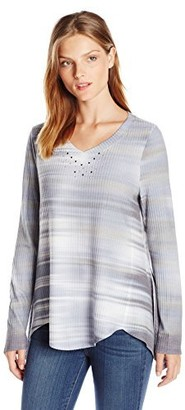One World ONEWORLD Women's Long Sleeve Tie Dye Thermal Knit Top with Bling
