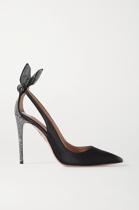Aquazzura Bow Tie 105 Crystal-embellished Satin Pumps - Black