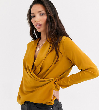 Y.A.S Tall Nappy long sleeve satin blouse