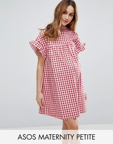 Asos PETITE Red Gingham Smock Dress
