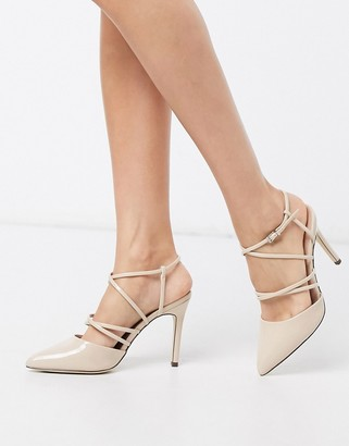 Call it SPRING babina cross strap heeled shoes in beige