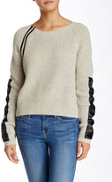 Sisters Faux Leather Trim Sweater