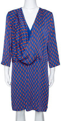 Diane von Furstenberg Blue Printed Stretch Silk Rachel Short Dress L