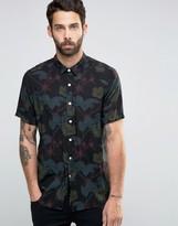 Asos Hawaiian Reverse Print Shirt In Black