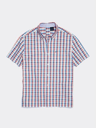 Tommy Hilfiger Seated Fit Plaid Short Sleeve Shirt