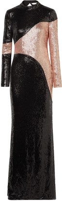 Rachel Zoe Genevieve Open-back Two-tone Sequined Crepe Gown