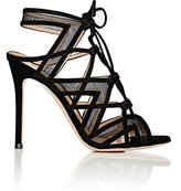 Gianvito Rossi Women's Caged Lace-Up Sandals-RED, PURPLE, BLACK