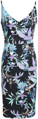 Black Halo Floral-print Cady Dress