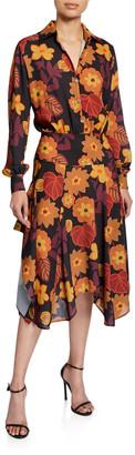 Dodo Bar Or Natasha Asymmetrical Floral-Print Shirt Dress