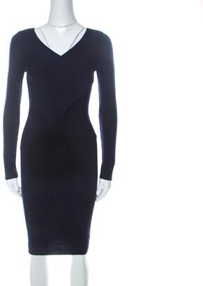 Moschino Navy Blue Rib Knit Wrap Bodice Long Sleeve Midi Dress S