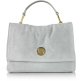 Coccinelle Liya Iris Gray Suede Satchel Bag