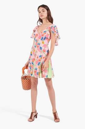 STAUD Chiquita Dress | Abstract Peach Blossom Pistachio
