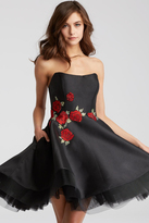 Jovani 55136 Strapless Rose Applique Cocktail Dress