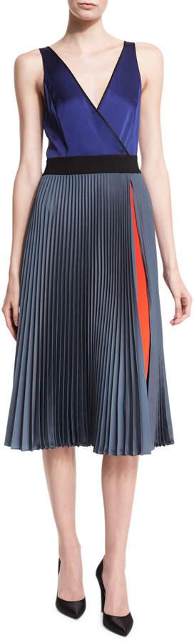 Diane von Furstenberg Sleeveless V-Neck Faux-Wrap Satin Dress