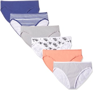 Amazon Essentials Women's Cotton Stretch Hi-Cut Brief Panty 6 pack