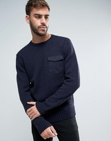 French Connection Military Style Pocket Knitted Jumper