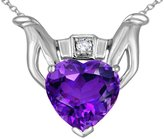 Stark Star K Claddagh Love Pendant Necklace With Genuine 10 kt White Gold