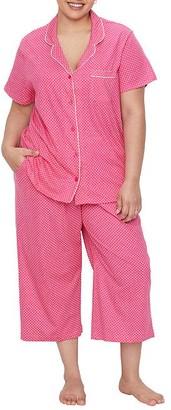 Karen Neuburger Plus Size Polka Dot Girlfriend Knit Cropped Pajama Set